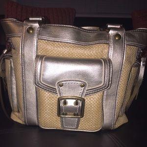 BNWT coach gold straw bucket bag w/ dust bag